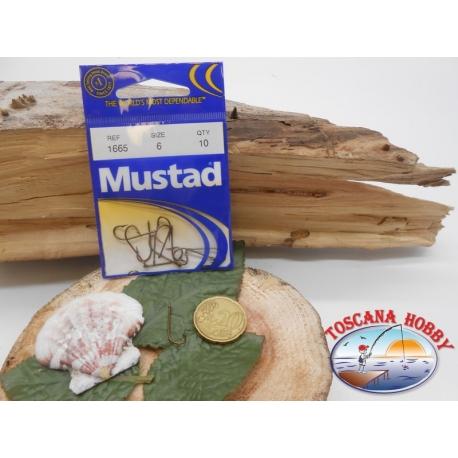 1 Confezione da 10 pz ami Mustad bronzati cod. 1665 sz.6 con occhiello FC.A247