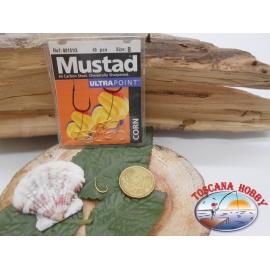 1 Packung mit 10 stk. angelhaken Mustad gold-cod. 60151G sz.8 mit schaufel FC.A249