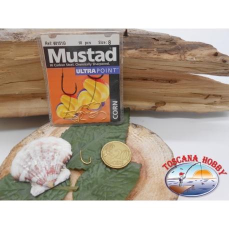 1 Pack de 10 uds Mustad oro cod. 60151G sz.8 con el cabezal FC.A249