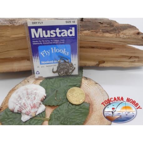 1 Confezione da 25 pz ami Mustad Dry fly cod. 539EBR sz.10 occhiello FC.A250