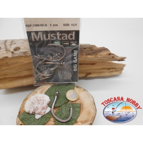 1 Pack of 3 pcs Mustad cod. 10884BLN sz.10/0 with crown FC.A251
