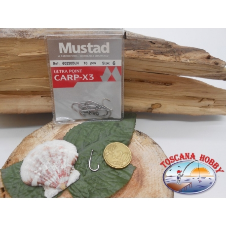 1 Pack 10pcs Mustad cod.60520BLN sz.6 with crown FC.A256