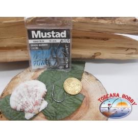 1 Confezione 10pz ami Mustad cod.10001BLN sz.1/0 con paletta FC.A257