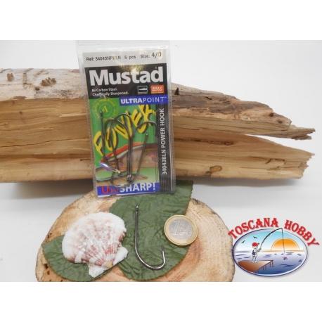 1 Pack de 5 uds Mustad-cod.34043NPBLN sz.4/0 con la corona de FC.A258