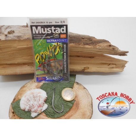 1 Pack 10pcs Mustad cod.34043BLN sz.3/0 with crown FC.A259