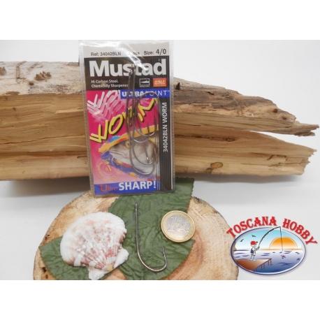 1 Pack 5 pcs Mustad cod.34042NPBLN sz.3/0 with crown FC.A260