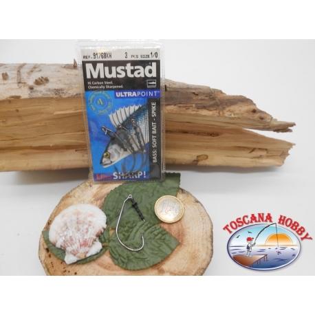 1 Packung 3pz angelhaken Mustad soft bait cod.91768KH sz.1/0 öse FC.A266