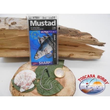 1 Packung 3pz angelhaken Mustad soft bait cod.91768KH sz.2/0 öse FC.A267