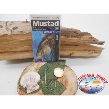 1 Packung 5 stück angelhaken Mustad cod.32808NPBLN sz.5/0 öse FC.A269