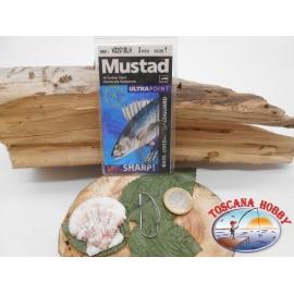 1 Packung 3pz angelhaken Mustad antincaglio cod.W3261BLN sz.1 FC.A270