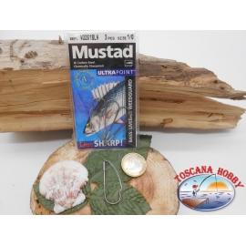 1 Packung 3pz angelhaken Mustad antincaglio cod.W3261BLN sz.1/0 FC.A271