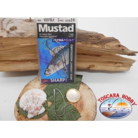 1 Paquete de 3pcs Mustad antincaglio cod.W3261BLN sz.2/0 FC.A272