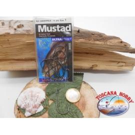 1 Packung 14pz angelhaken Mustad cod.32808NPBLN sz.1 öse FC.A268