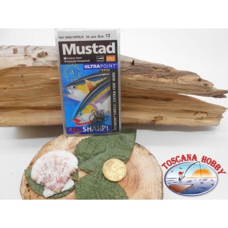 1 Pack 25 pcs Mustad autoferranti eye cod.39951NPBLN sz.12 FC.A275