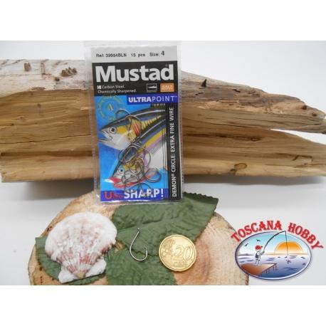 1 Pack 15 pcs Mustad autoferranti eye cod.39954BLN sz.4 FC.A278