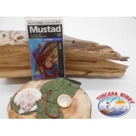 1 Paquete de 12 unidades Mustad ojo rojo cod.37177NPBER sz.2/0 FC.A279