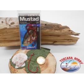 1 Pack de 5 pièces Mustad les yeux rouges de la morue.37177NPBER sz.4/0 FC.A280