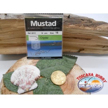 1 Packung mit 10 stk. angelhaken Mustad Crystal mit schaufel cod.221C sz.16 CF.A284