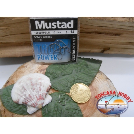 1 Pack 10 pcs Mustad Spade barbed, with the headstock cod10655NPBLN sz.14 FC.A286
