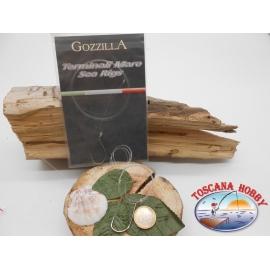Tres bolsas de mar terminales Gozzilla cod.92553S sz.4/0 con fluorocarbono FC.A287