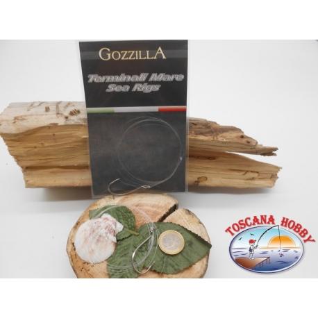 Tres bolsas de mar terminales Gozzilla cod.92553S sz.4/0 con fluorocarbono FC.A288