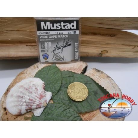 1 beutel mit 10 stk. angelhaken Mustad cod.60020NBR sz.18 FC.A315