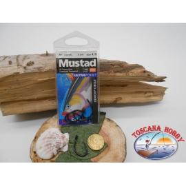1 Packung 5 stück angelhaken Mustad autoferranti cod.39950BL sz.4/0 öse FC.A264B