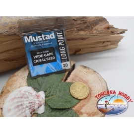 1 beutel 10 stk. angelhaken Mustad, schaufel, silver, cod.LP180 sz. 20 FC.A388