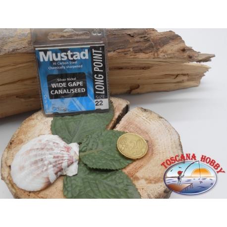 1 beutel 10 stk. angelhaken Mustad, schaufel, silver, cod.LP180 sz. 22 FC.A389