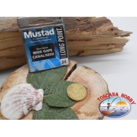 1 beutel 10 stk. angelhaken Mustad, schaufel, silver, cod.LP180 sz. 24 FC.A390