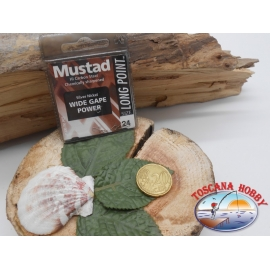 1 beutel 10 stk. angelhaken Mustad, schaufel, silver, cod.LP200 sz. 24 FC.A392