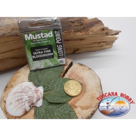 1 beutel 10 stk. angelhaken Mustad, schaufel, green, cod.LP240 sz. 20 FC.A394