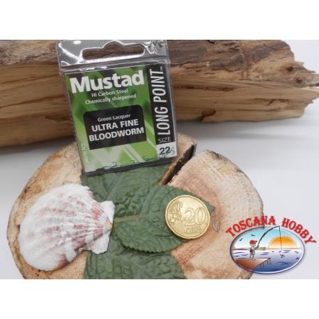 1 beutel 10 stk. angelhaken Mustad, schaufel, green, cod.LP240 sz. 22 FC.A395