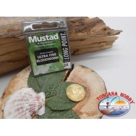 1 beutel 10 stk. angelhaken Mustad, schaufel, green, cod.LP240 sz. 24 FC.A396