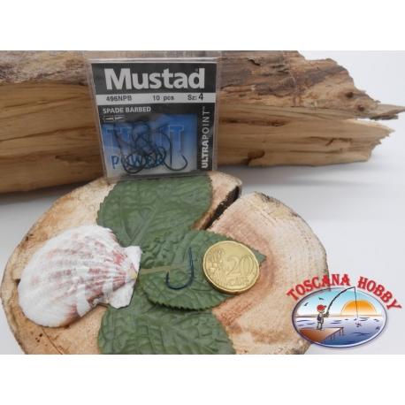 1 beutel 10 stk. angelhaken Mustad, schaufel, blau, cod.496NPB sz. 4 CF.A398