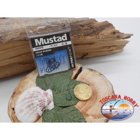 1 sachet de 10 pcs Mustad, scoop, bleu, cod.496NPB sz. 8 FC.A399