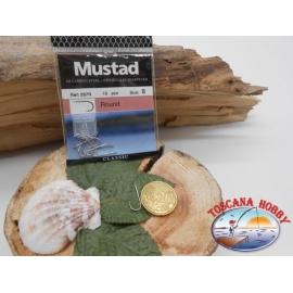 1 bustina 10 pz ami Mustad, round, paletta, silver, cod.287N sz. 8 FC.A402