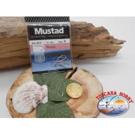 1 bustina 10 pz ami Mustad, round, paletta, silver, cod.287N sz. 9 FC.A403