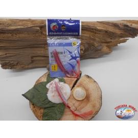 1 pack de 2 clavos, rosa sz.5 para la pesca de curricán costero 4cm con plumas FC.T4