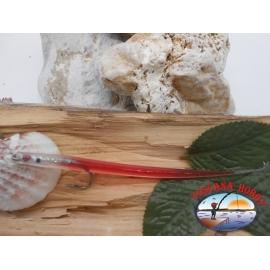 Esca artigianale 14cm col.red, amo d'acciaio cod.74005 Mustad sz.2/0 FC.R283