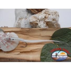 Esca artigianale 14cm col.white, amo d'acciaio cod.74005 Mustad sz.2/0 FC.R286