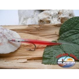 Esca artigianale 9cm col.red, amo d'acciaio cod.74005 Mustad sz.1/0 FC.R301