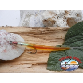 Esca artigianale 9cm col.orange, amo d'acciaio cod.74005 Mustad sz.1/0 FC.R303
