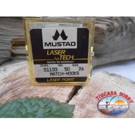 """1 confezione da 50pz ami Mustad """"laser tech"""" serie 51133 sz.26 FC.A462"""