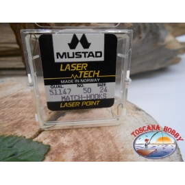 """1 packung 50pz angelhaken Mustad """"laser-tech"""" - serie 51147 sz.24 FC.A472"""