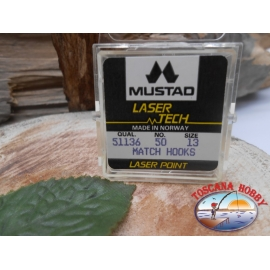 """1 packung 50pz angelhaken Mustad """"laser-tech"""" - serie 51136 sz.13 CF.A475"""
