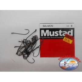 """1 pack of 25 pcs Mustad """"great deal"""" series Salmon sz.8 FC.A522"""