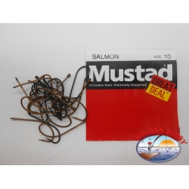 "1 packung 25pz angelhaken Mustad ""great deal"" - serie Salmon sz.10 FC.A523"