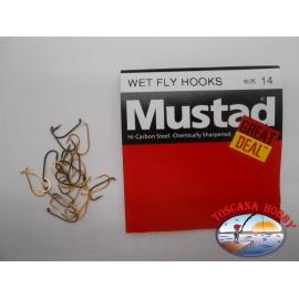 """1 paquete de 25 pcs Mustad """"gran cantidad"""" de la serie mosca Húmeda ganchos de sz.14 FC.A526"""