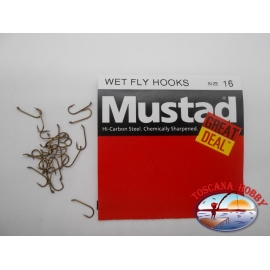 """1 pack of 25 pcs Mustad """"great deal"""" series Wet fly hooks sz.16 FC.A527"""